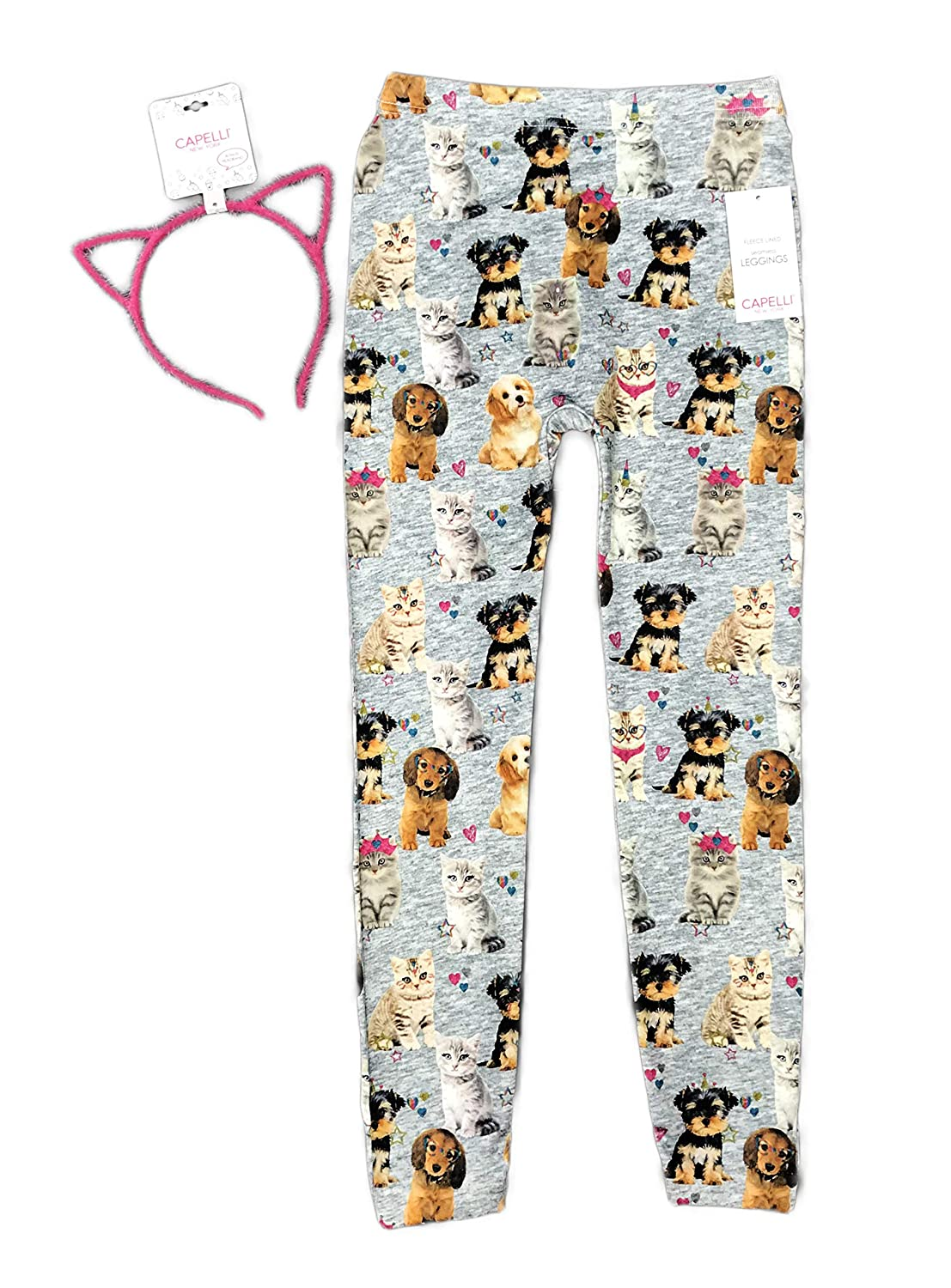 Cute Cats & Dogs Fleece Lined Seamless Girls Novelty Leggings with Fuzzy Pink Cat Ear Headband