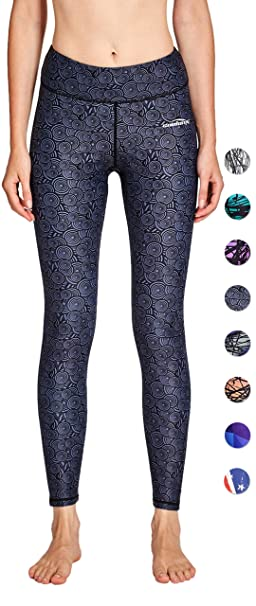 07dceabdfd COOLOMG Women's Yoga Long Pants Compression Drawstring Running Tights with  Reflector Inner Pocket Non See-