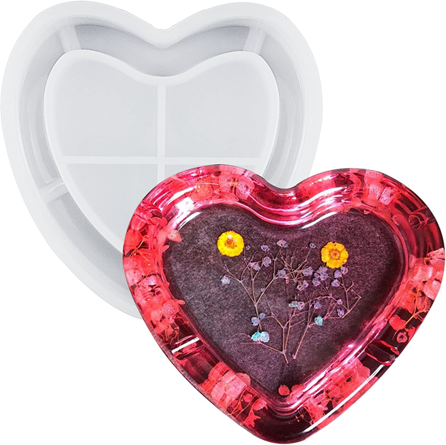 musykrafties 6.3 Heart Ashtray Resin Silicone Mould for Polymer Clay Resin Epoxy Crafting Projects Large