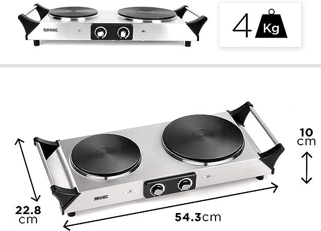Duronic HP2SS Placa Eléctrica Portátil 1500W con 2 Fuegos (diámetro 187mm y 152mm) - Hornillo Eléctrico con Asas - Calientaplatos ideal para camping, ...