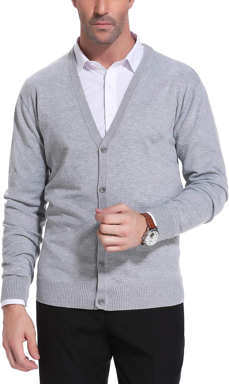 iClosam Mens Knit Cardigan Lightweight Slim Fit Knitwear V-Neck Button Versatile Kintted Cardigan Sweater