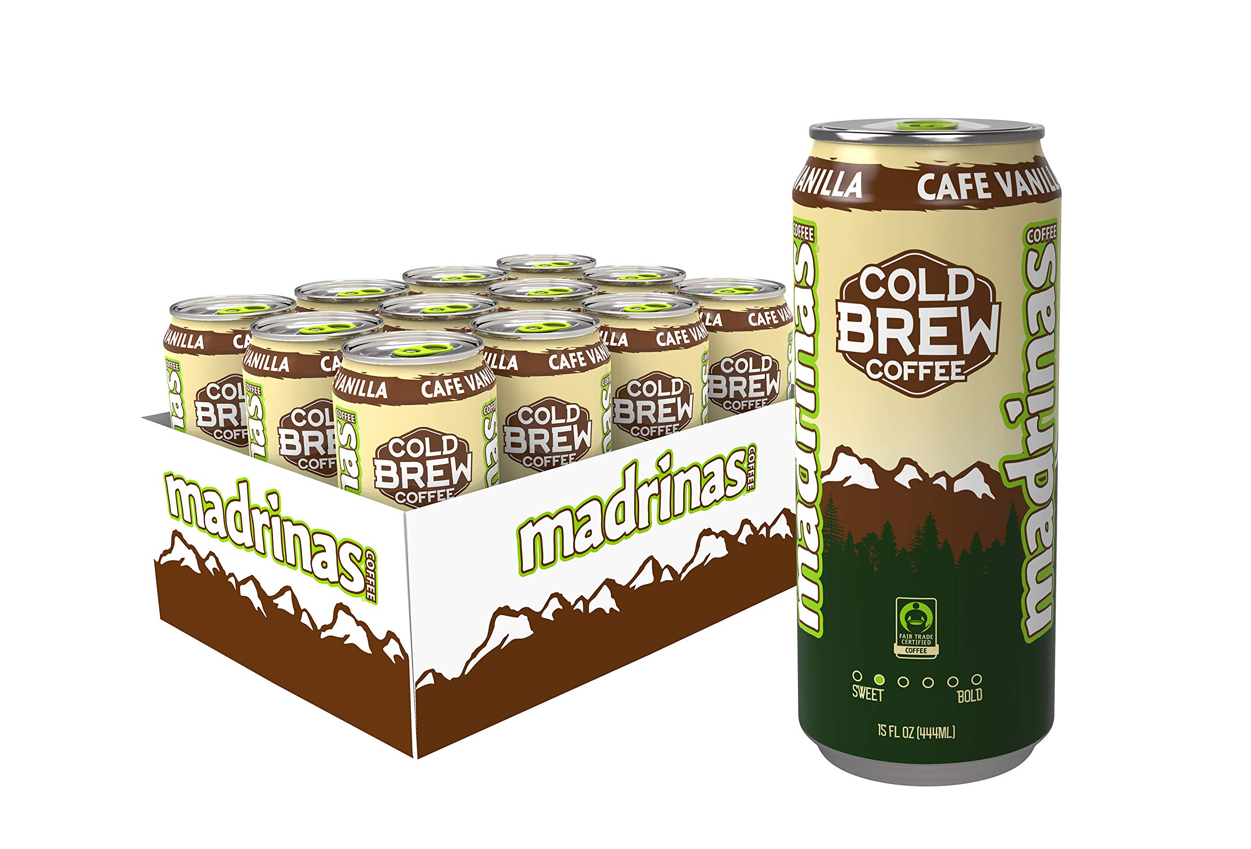 Madrinas Cafe Vanilla Fair Trade Cold Brew Coffee, 15 Fl Oz (Pack of 12)