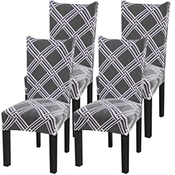 Remarkable Fuloon Super Fit Stretch Jacquard Removable Washable Short Dining Chair Covers Seat Slipcover For Hotel Dining Room Ceremony Banquet Wedding Party 4 Machost Co Dining Chair Design Ideas Machostcouk