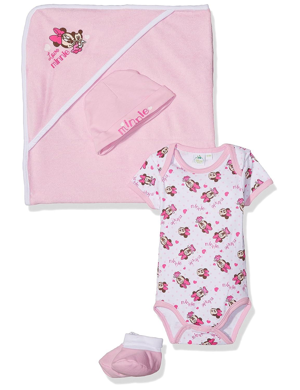 Set cape de bain bonnet et chaussons en coton bébé fille Minnie Mouse Box Ensemble Bébé Fille Rose (Pink) AQE0316.PINK.6M