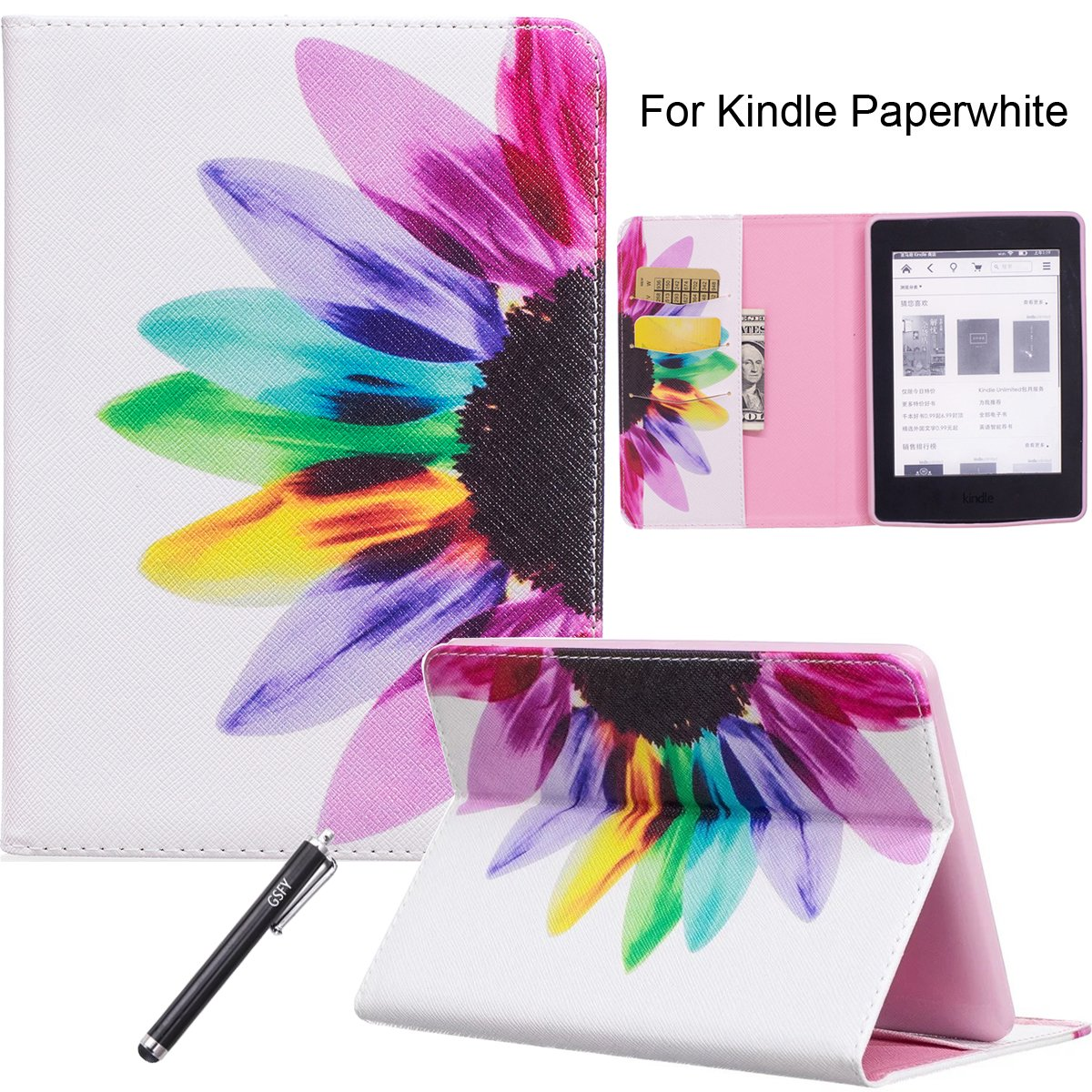 Newshine Kindle Paperwhite Case, Flip Synthetic Leather Premium Case Cover for Amazon Kindle Paperwhite E-reader 6'' (Fits 2012, 2013, 2014, 2015 Versions) with Card Slots/Holder - Flower