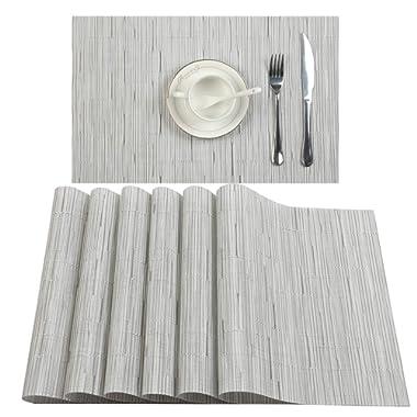 U'Artlines Placemat, Crossweave Woven Vinyl Non-Slip Insulation Placemat Washable Table Mats Set (8pcs placemats, B White)