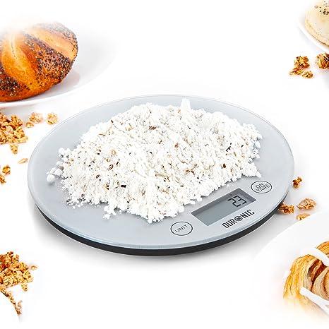 Duronic KS1055 Báscula Cocina Digital 5 Kg de Acero inoxidable Balanza Cocina Peso Superficie Redonda de