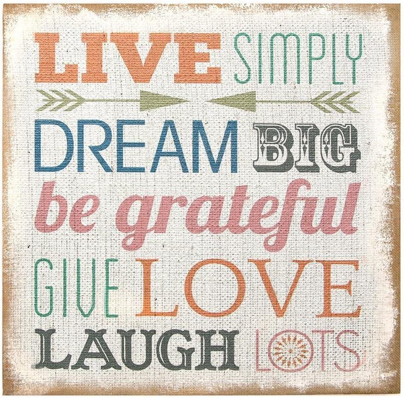 "Stratton Home Decor SPC 991"" Love Simply Typography Burlap Wall Art, 16.00 W X 1.50 D X 16.00 H, Multi"