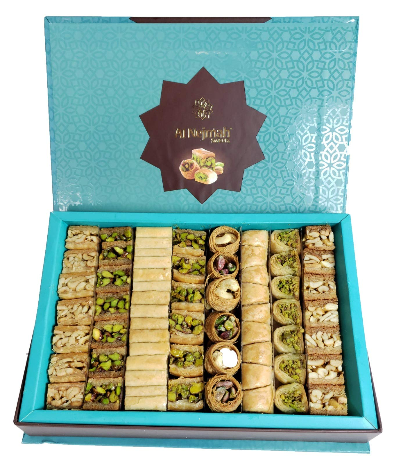 PT112 - Baklava Nuts Assorted (105-110 Pieces) (36 Oz Net, 3 lbs Gross, 12 inches x 8 inches x 2 inches) (Oglu) - Baklava Pastry Sweets in Very Classy Gift Box (Mix Baklava Nuts, 36 Oz Net, PT112)