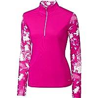 Cutter & Buck Womens LAK00098 Long Sleeve Energy 1/2 Zip Mock Neck Overknit Long Sleeves Golf Shirt - Turquiose