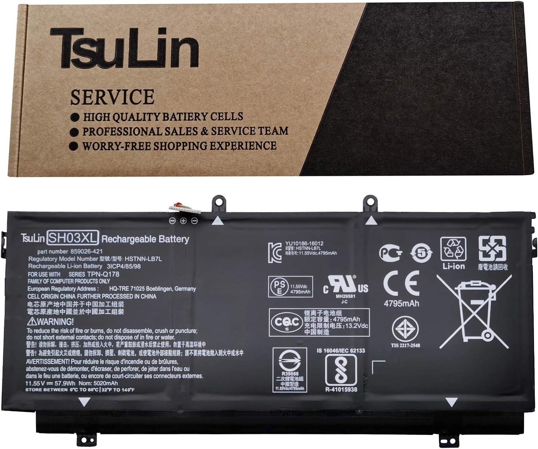TsuLin SH03XL Laptop Battery Compatible with HP Spectre X360 13-W023DX 13-AC033DX 13-W013DX 13-W031NG 13-W002NG 13-W003NG Series Notebook HSTNN-LB7L 859026-421 901308-421 11.55V 57.9Wh 5020mAh
