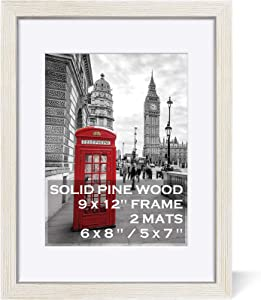 9x12 Picture Frames Solid Wood Display Pictures 6x8 or 5x7 with Mat or 9x12 without Mat - Farmhouse Distressed 9 x 12 Inch Photo Frame with 2 Mats Wall Mounting or Table Top, Rustic White - Set of 1