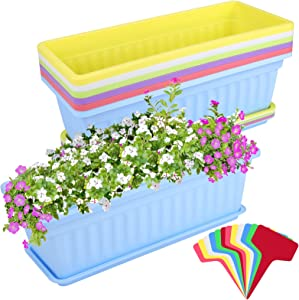 Elcoho 6 Pack Flower Window Box Planters 17 Inches Plastic Vegetable Plant Pot Rectangular Planters with Trays for Windowsill, Patio, Porch, Garden, Home Decor (Multicolor)