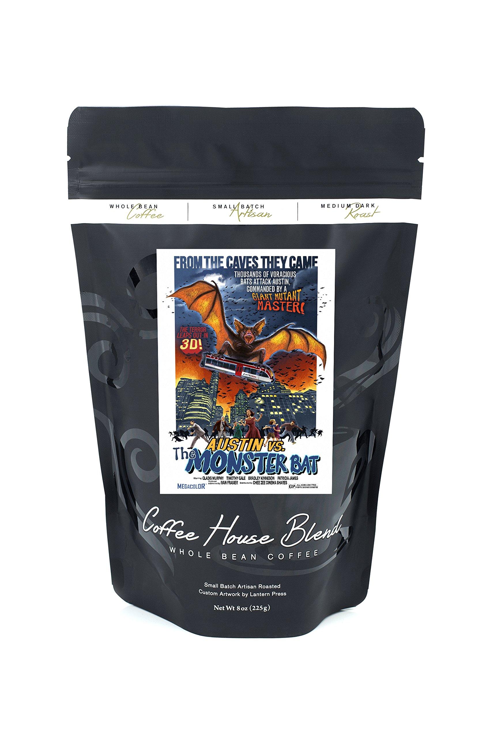 Austin, Texas - Austin vs The Monster Bat - B Movie Poster (8oz Whole Bean Small Batch Artisan Coffee - Bold & Strong Medium Dark Roast w/ Artwork)