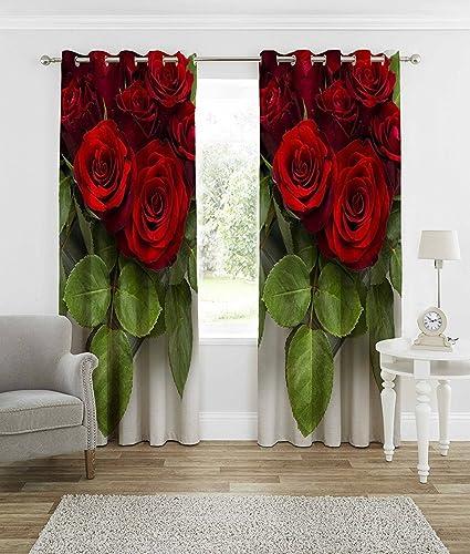 Buy Hhomecrust 3d Curtain Elegant Curtains Roses 4 X 5 Feet 3pcs