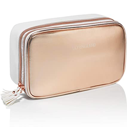 c0e315b918 Lily England Rose Gold Makeup Bag Organiser - Large Make Up Storage Bag  Cosmetic Case: Amazon.co.uk: Beauty