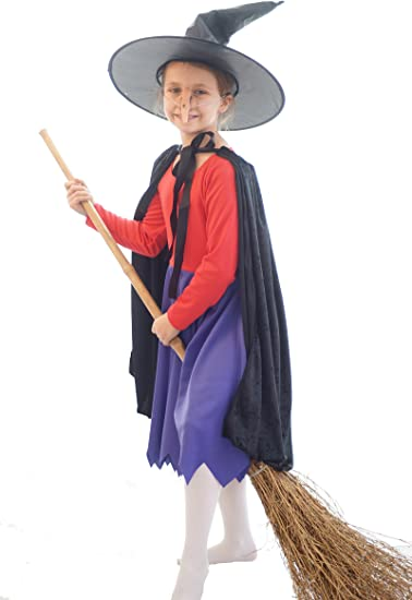 HALLOWEEN-WITCH-ROOM ON THE BROOM-CHILD/'S Witches Cloak,Hat /& Nose Accessory Set