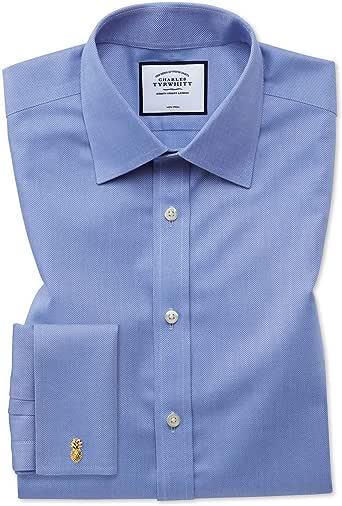 Charles Tyrwhitt Camisa Azul de Tela Royal Panama Extra Slim fit sin Plancha: Amazon.es: Ropa y accesorios