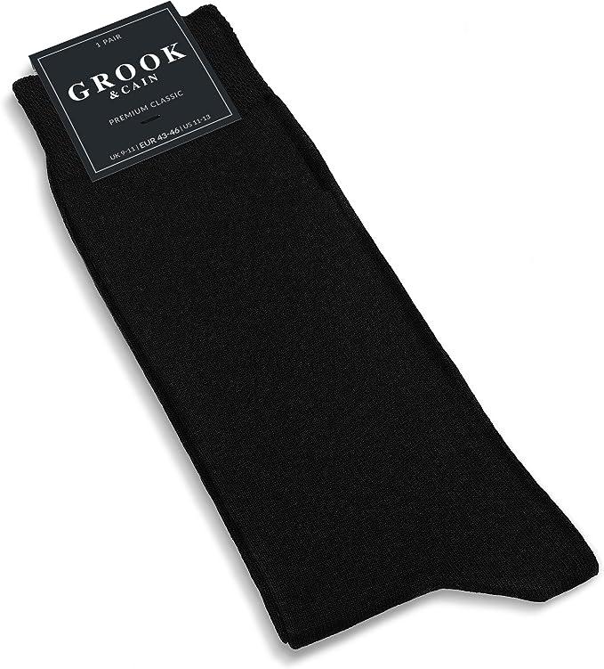 Certificaci/ón Oekotex Algod/ón Pack de 10 pares de calcetines de vestir Unisex Tallas 35-50 Premium Classic Negro Grook /& Cain