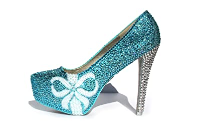 f1c357dbc29 Wicked Addiction Woman s Aqua Blue Wedding Shoes with Pearl Bows and  Crystal Heels ...