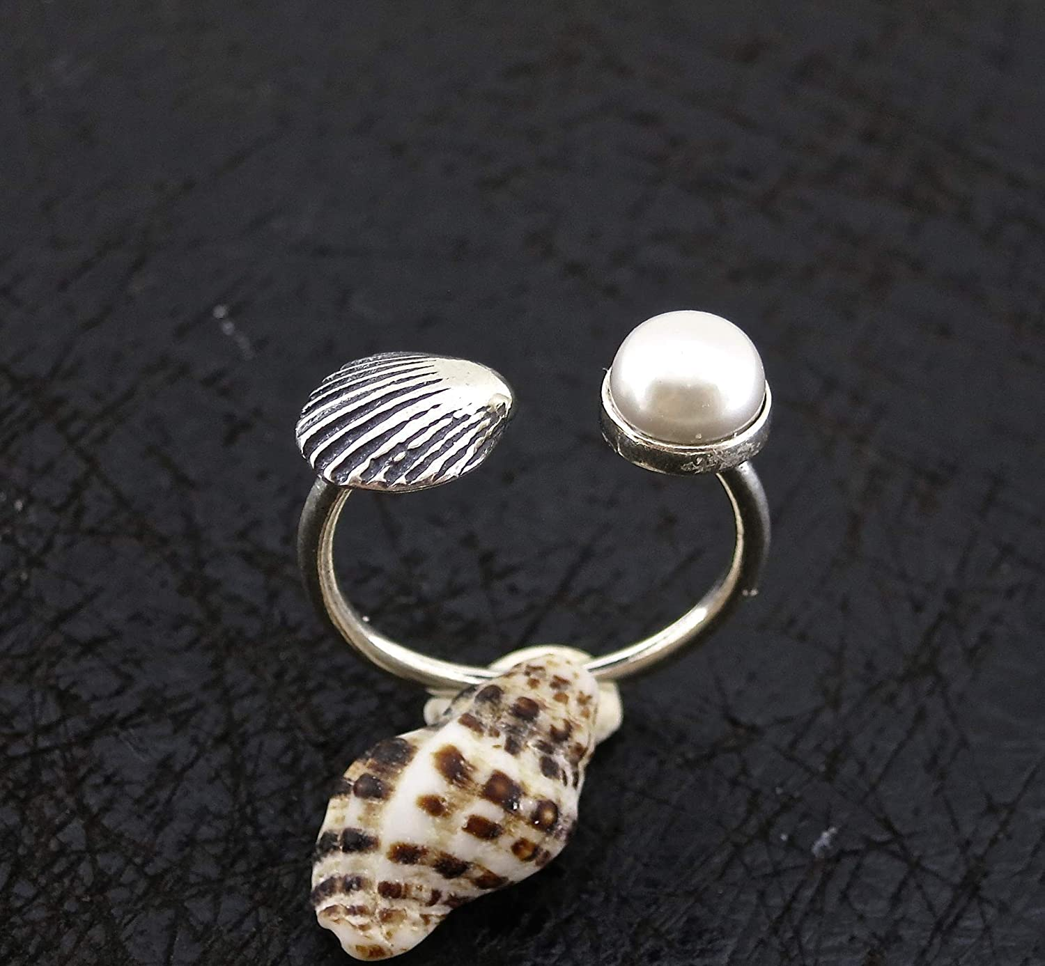 Hippie Beach Jewelry Bohemian Sterling Silver Jewelry for Women and Girls Summer Open and Adjustable Sea shell and Pearl Ring Size 7.5-9 Nautical Handmade