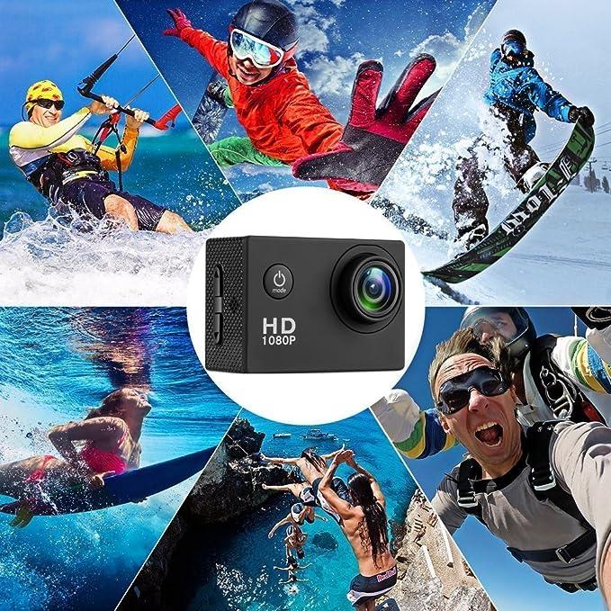 Busuo Cam/éra daction /à Grand Angle 140/° Full HD LCD 5,1 cm /étanche avec 2 Piles Rechargeables et kit daccessoires n/écessaires