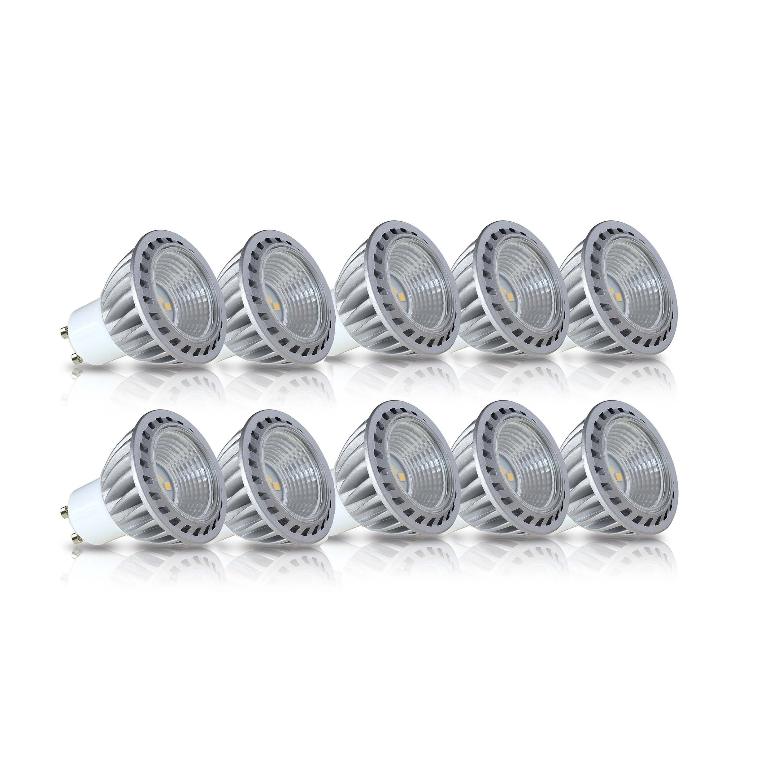 LAMPAOUS GU10 Led Light Bulbs 50W Equivalent, 100% Aluminum Reflector 2700K Warm White, 40 Degree Beam Angle, CRI>85, Pack of 10