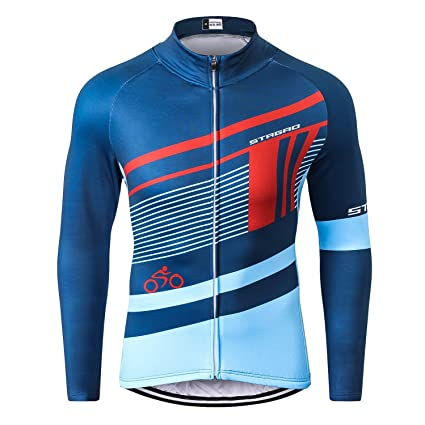 bbef901a4 STRGAO Men s Windproof Long Sleeves Jersey Winter Fleece Thermal Cycling  Coat Bicycle Bike Jacket Size 2XL