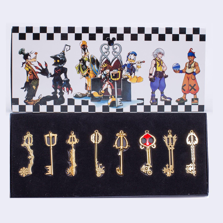Kingdom Hearts Keyblade Sora Pendants Keychain Necklace Set