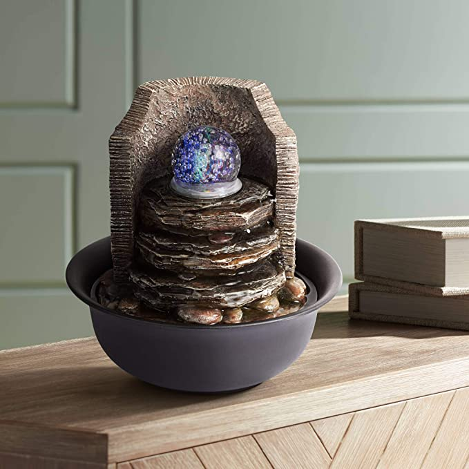 """Amazon.com: John Timberland Rock Stack and Ball Zen Indoor Table-Top Water Fountain with Light LED 10 1/4"""" High for Table Desk Office Home Bedroom Relaxation: Home & Kitchen"""