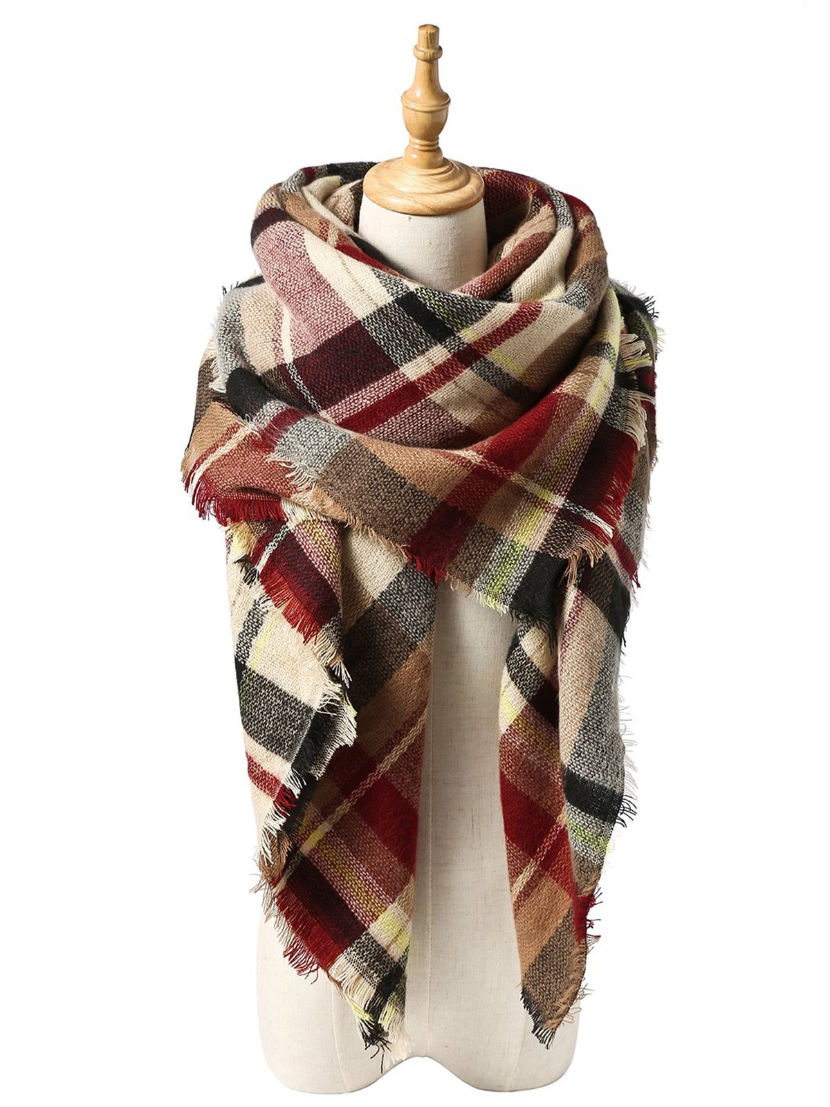Durio Womens Scarves Winter Warm Scarfs for Women Plaid Blanket Tassel Shawls Wrap Oversized Scarf Light Red