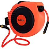 DuRyte Pro Retractable Air Hose Reel with Excellent Optional-Position Lock Mechanism and 3/8-Inch by 50-Feet Hybrid Hose, Max. 300 PSI