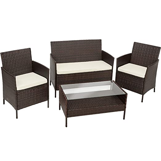 Tectake Muebles De Jardín En Poly Ratan Conjunto 1 Mesa De Café 1 Banco Y 2 Sillas Con Almohadas Para Terraza O Balcón