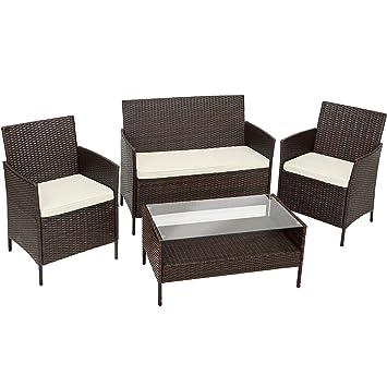Tectake Ensemble De Jardin En Resine Tressee Avec 1 Table Basse 1 Canape 2 Chaises Incl Coussin D Assise Amovible Meuble Pour Balcon Terrasse