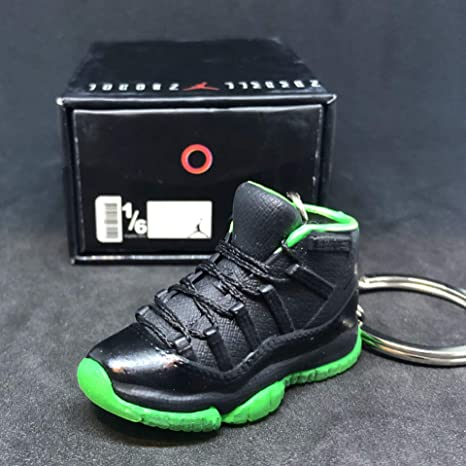 online store 87790 0cf03 Amazon.com   Air Jordan XI 11 Retro High Black Neon Green OG Sneakers Shoes  3D Keychain 1 6 Figure + Shoe Box   Everything Else