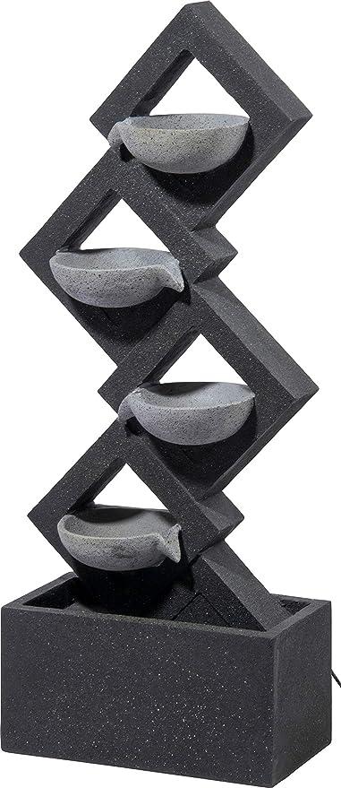 Grau 41,5 x 20,5 x 100,5 cm dobar Gro/ßer Design Gartenbrunnen mit Pumpe und LED/´s XL-Brunnen mit 4 Wasserschalen aus Kunststein