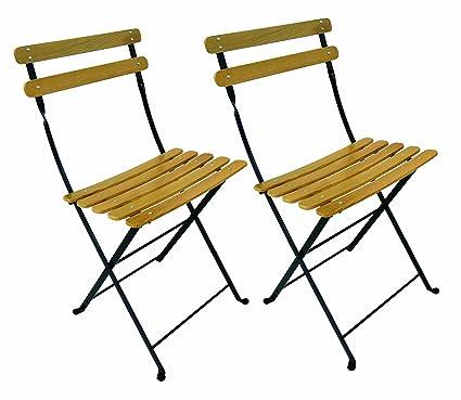 Mobel Designhaus French Café Bistro Folding Side Chair, Jet Black Frame,  Clear Painted European