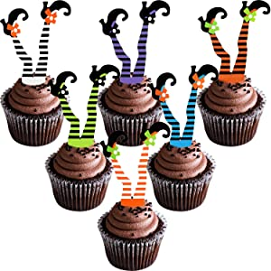 48 Pieces Halloween Cupcake Toppers Happy Halloween Props Witch's Boot Cupcake Decorations for Party Favors, 6 Colors