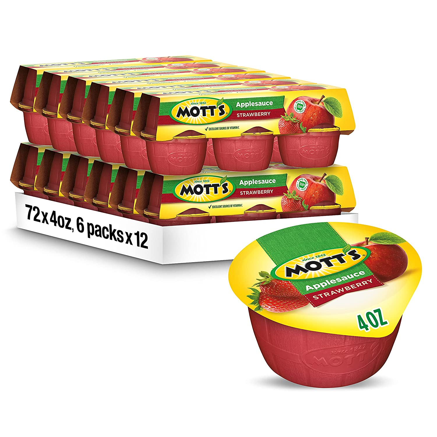 Mott's Strawberry Applesauce, 4 Ounce Cup, 6 Count (Pack of 12)