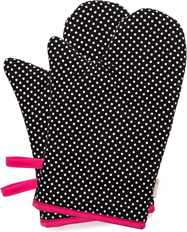2/St/ück Schwarz mit Punkten Adult Women Neoviva Baumwolle Canvas beschichtet Ofen Handschuhe f/ür Erwachsene