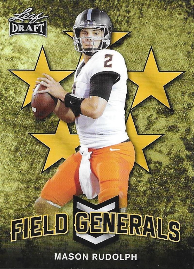 2018 Leaf Draft Field Generals Gold #FG-07 Mason Rudolph RC Rookie Football Trading Card