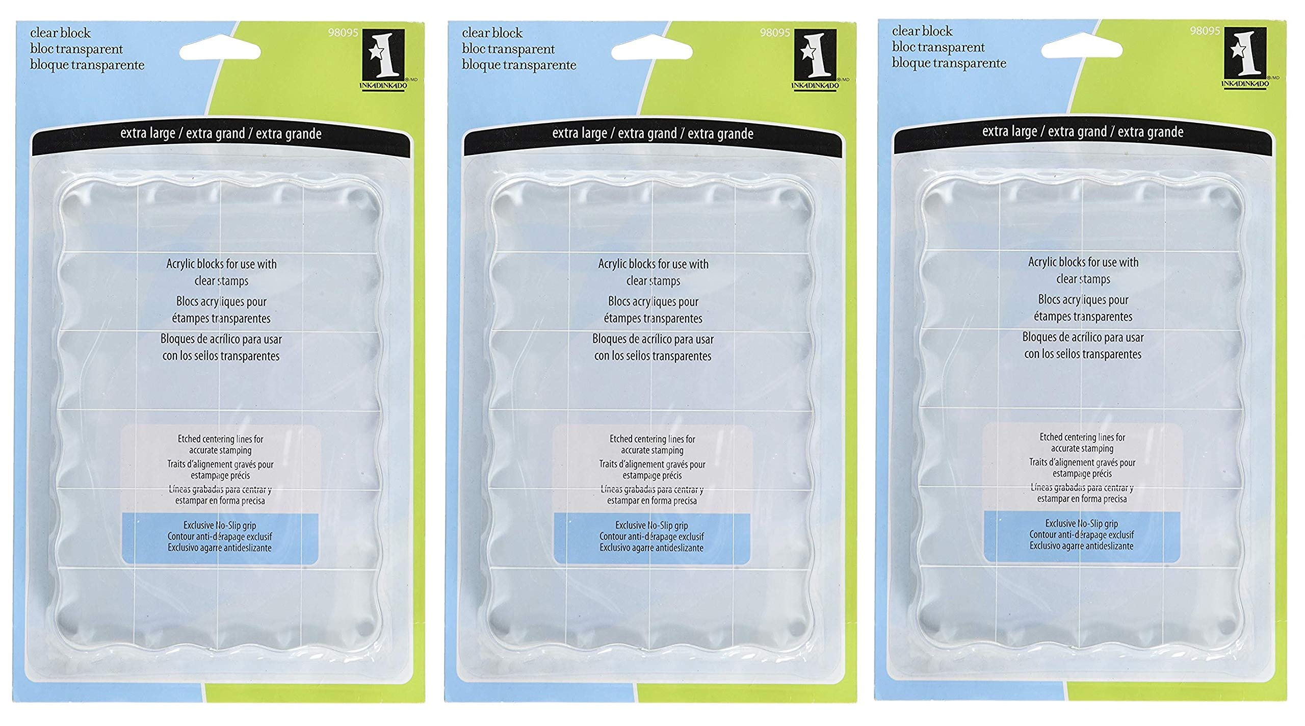 Inkadinkado Extra Large Acrylic Mounting Block for Clear Stamps, 4.5'' W x 6.5'' L (Тhree Pаck)
