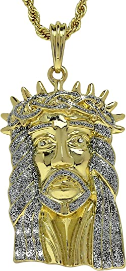 PENDANT ONLY LARGE 14K Gold plated Jesus piece