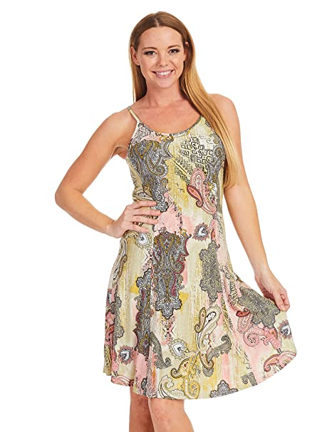 47b3a0097eb Come Together California CTC WDR1364 Womens Print Sleeveless Cami Short  Dress L Olive