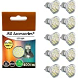 JSG Accessories® 10 x GU10 5W 24 SMD 5050 LED Super Bright Bulb in Day White 6000-6500K = 50W Halogen Bulb