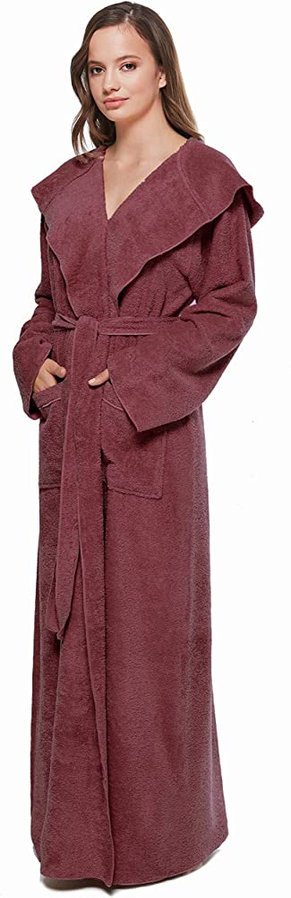 Arus Women S Princess Robe Ankle Long Hooded Lightweight Turkish Cotton Bathrobe Claret Wine Small At Amazon Women S Clothing Store