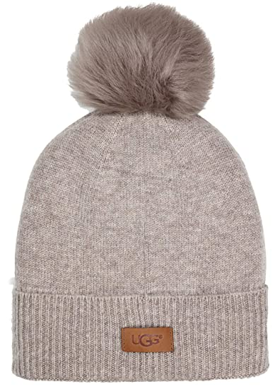 7a1b54532499c UGG Women s Luxe Knit with Sheepskin Pom Hat Stone Heather One Size   Amazon.co.uk  Clothing