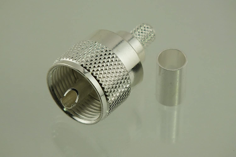 w5swl marca Premium Series Coaxial conector plata UHF PL-259 PL259 macho Crimp para RG-8 X mini-8 y tipo 240 de baja pérdida Cable Coaxial de la serie 2 ...