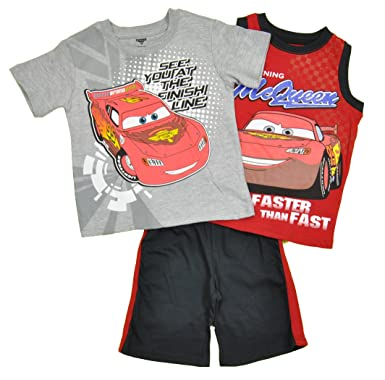 23541b9af025c Disney Pixar Cars Infant Boys Lightning McQueen Faster 3Pc Short Set (24M)