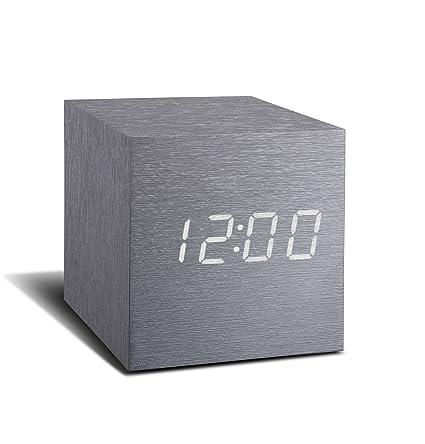 Aluminio Cubo Haz Clic En El Reloj con blanco pantalla mostrando Time/Fecha/ Temperatura